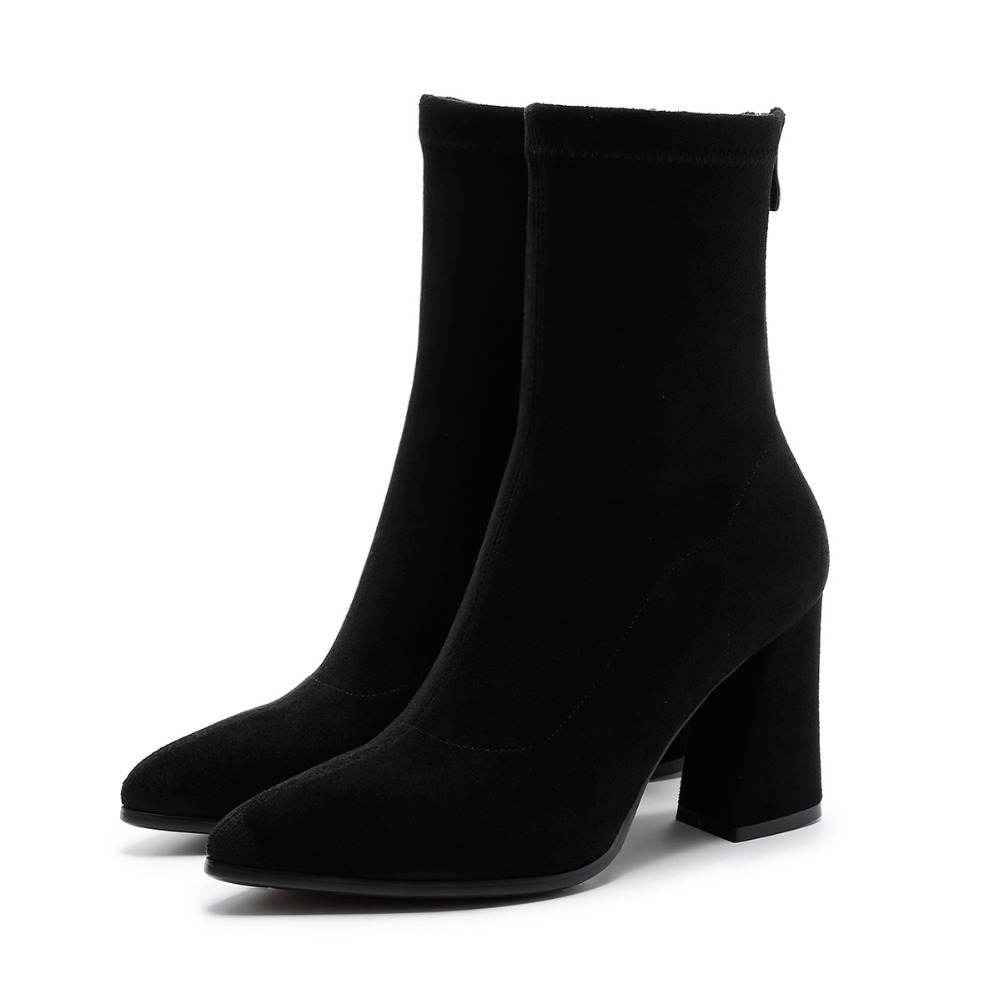 2017 Women 39 s Shoes Kid Suede Stretch Ankle Boots for Women Pointed Toe Sock Boots Square High Heel Boots Shoes Woman Fashion in Ankle Boots from Shoes