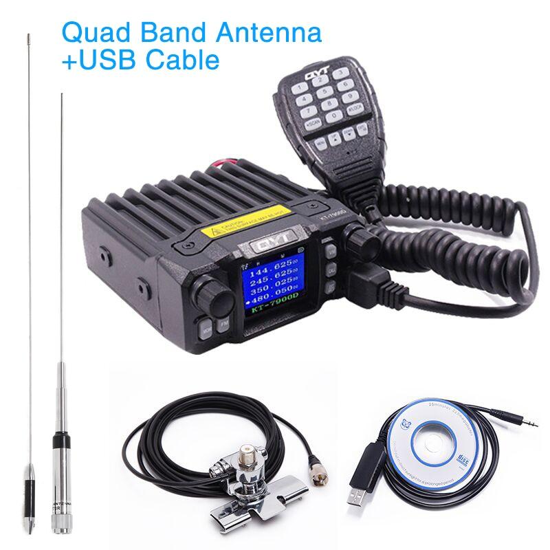 QYT KT-7900D Mini Mobile Radio KT7900D Quad Bande Quad veille 136-174 mhz/220-260 mhz/ 350-390 mhz/400-480 mhz Voiture 4 Bandes CB Radio