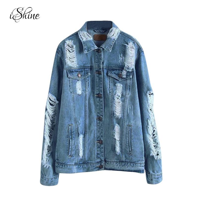 Women Stylish Loose Denim Jacket Coats Long-sleeved Washed Frayed Ripped Jean Coats Single Breasted Autumn Winter Basic Jackets
