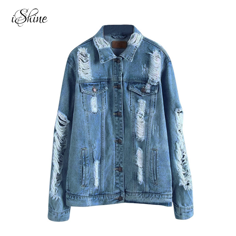 Women Stylish Loose Denim   Jacket   Coats Long-sleeved Washed Frayed Ripped Jean Coats Single Breasted Autumn Winter   Basic     Jackets