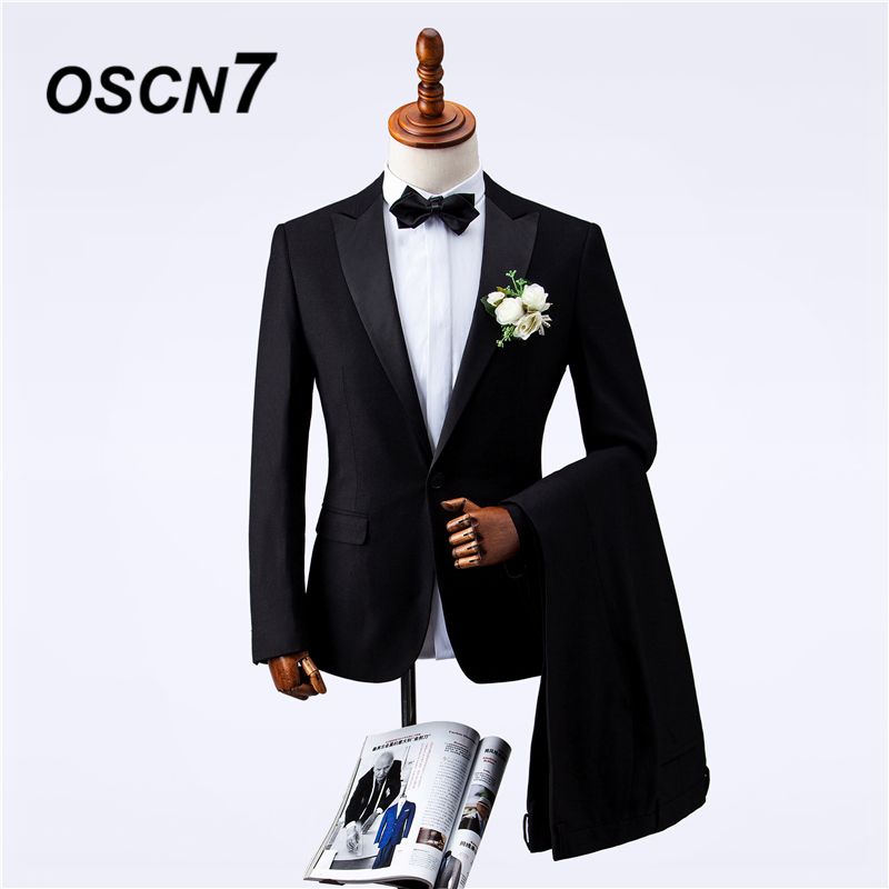 Sweet-Tempered Oscn7 Black Wedding Tailor Made Suits Men Peak Lapel Party Mens Suits Slim Fit Leisure Custom Made Suit Zm-371 Suits & Blazers