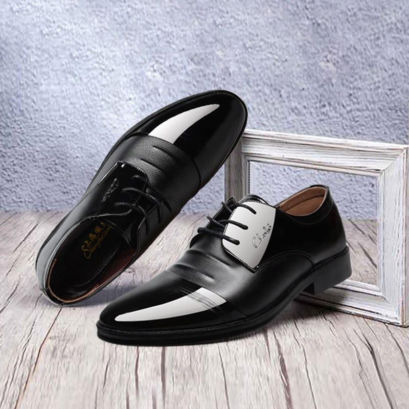 Zapatos de hombre a la moda, vestido de baile, calzado deportivo para hombre, zapatillas inglesas con punta, zapatos planos de cuero para hombre, zapatos de flamenco de talla grande Marca Brogue amarillo Negro hombres zapatos de vestir de negocios puntiagudos zapatos de boda de los hombres zapatos formales de cuero genuino hombre Casual pisos