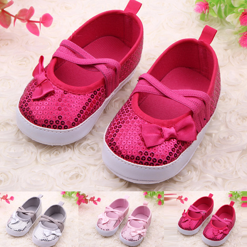 2017 Fashion Sequins Baby Girls Prewalker Bow Moccasins Soft Sole PU Leather Glitter Sho ...