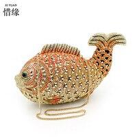 XIYUAN BRAND Mixed Color fish Evening Bag Handle Clutch Bridal Clutch Purse Shoulder Chain Bag Wedding Party Clutches Wallet