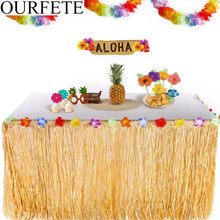 9ft 275CM Artificial Hibiscus Grass Table Skirt Hawaiian Tropical Luau Party Tableware Decoration Birthday Party Supplies Flower цена 2017