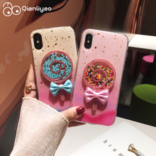 Qianliyao Gradient 3D Lollipop Cases for iPhone XR X 6S 7 8 Plus Glitter Gold foil Soft TPU Cover XS Max Capa