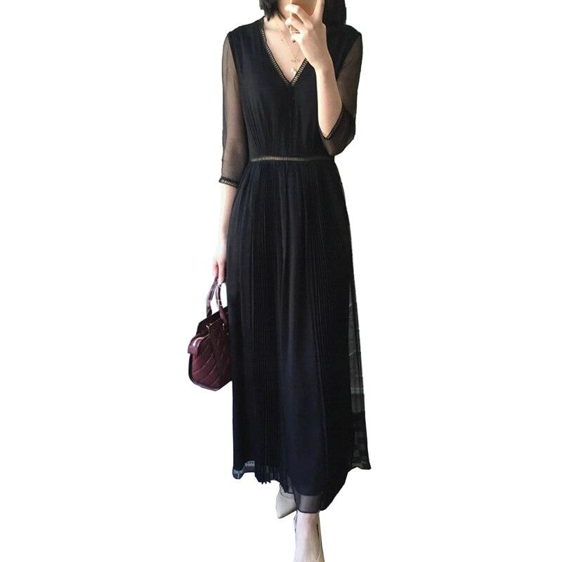 2018 été femmes robes Vintage mode haute qualité lâche demi manches irrégulière dentelle robes Sexy col en v solide longue robe