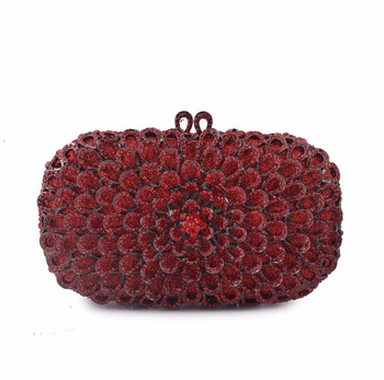 Dazzling Flower Women Evening Bags Luxury Diamond Crystal Clutch Women Evening Handbag Hollow Out Wedding Party Shoulder Bag Clutches