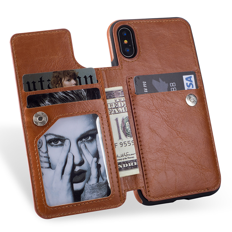 Moda Flip Funda de cuero para iPhone x tarjeta ranura soporte caja de la carpeta de la cremallera para el iPhone 6 6 S 7 8 plus cubierta para Samsung S8 Nota 8