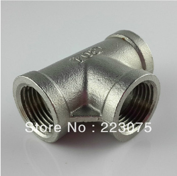 "New  1 1/2"" DN40 SS304 stainless steel T water pipe connector female lumbing water pipe connector NPT Homebrew Hardware 3pcs"