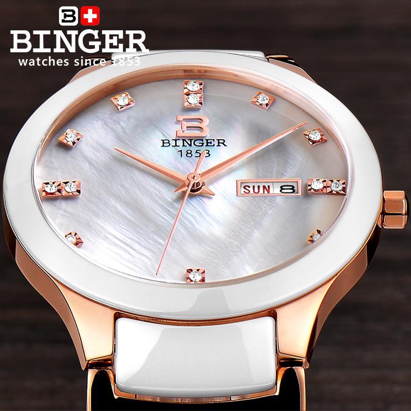 Suisse Binger Space céramique femmes montres de mode quartz montres strass amoureux horloge résistant à l'eau B-8007L-3 - 6