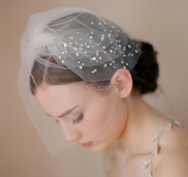 Ynqnfs V21 Hair Decoration Short Wedding Veil Birdcage Blusher Bridal Crystal Vintage
