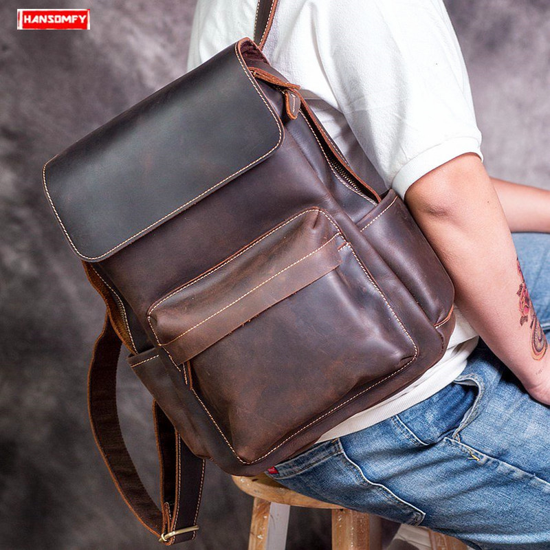 Handmade leather mens backpack retro casual top layer leather shoulder bag Men crazy horse leather travel computer backpacksHandmade leather mens backpack retro casual top layer leather shoulder bag Men crazy horse leather travel computer backpacks