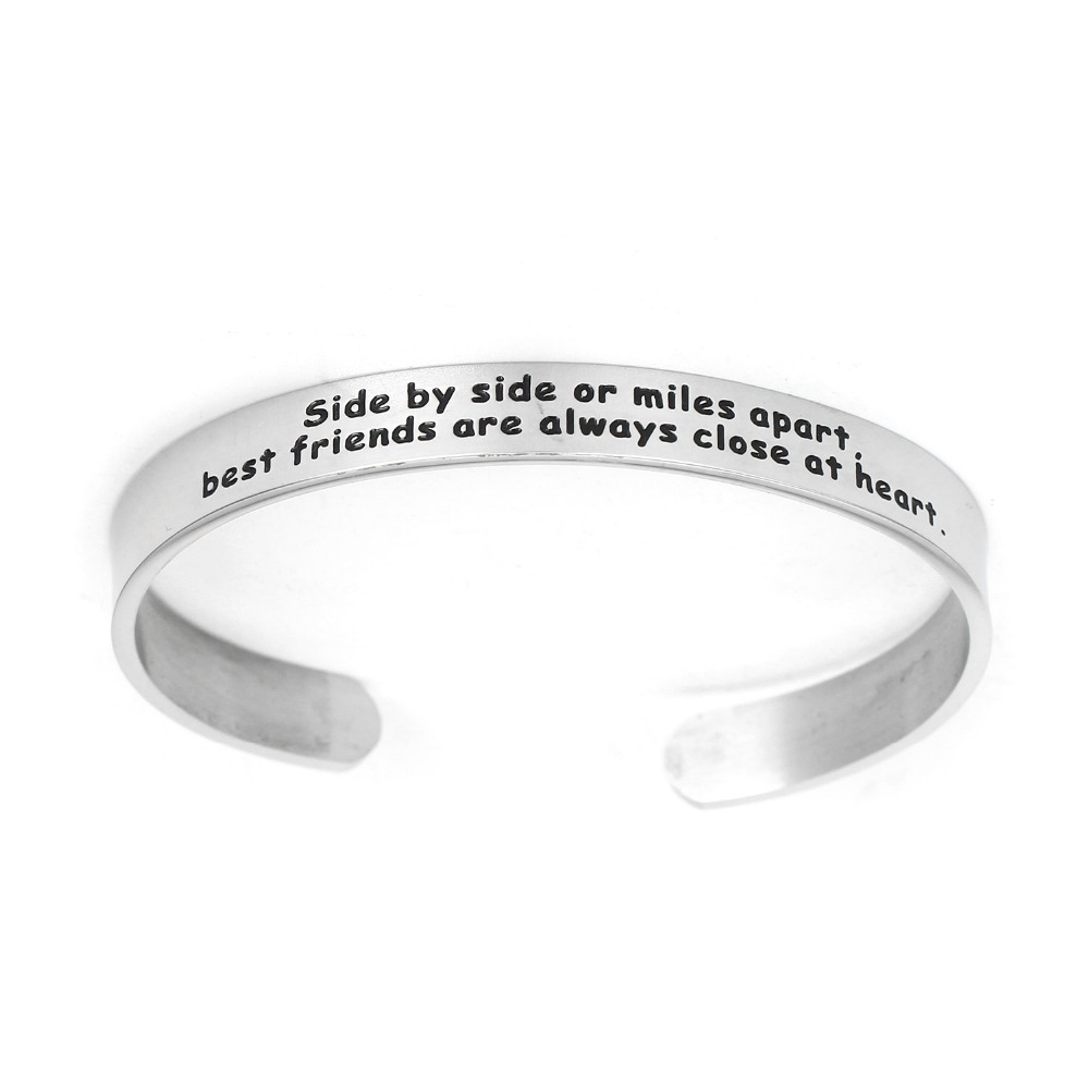 BESPMOSP Side By Side or Miles Apart, Best Friends Are Always Close At Heart Cuff Bracelet