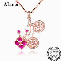 Almei 1.2ct Ruby Solid Sterling Silver 925 Bike Pendant Necklaces for Girls Brand Jewelry Bicycle Sports with Box CN038