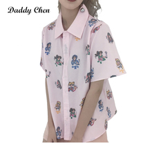 Daddy Chen Blusas Algodon Vintage Mujer Pink Sailor Moon Shirt Cute Cartoon Tshirt Women Button Loose Short Sleeve Kawaii