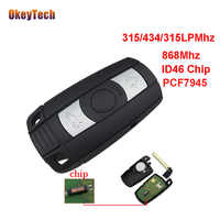 OkeyTech 3 Button 315MHZ 433MHZ 868MHz Car Remote Smart Key Card with Blade For BMW 3 5 Series X1 X6 Z4 CAS3 ID46 PCF7945 Chip