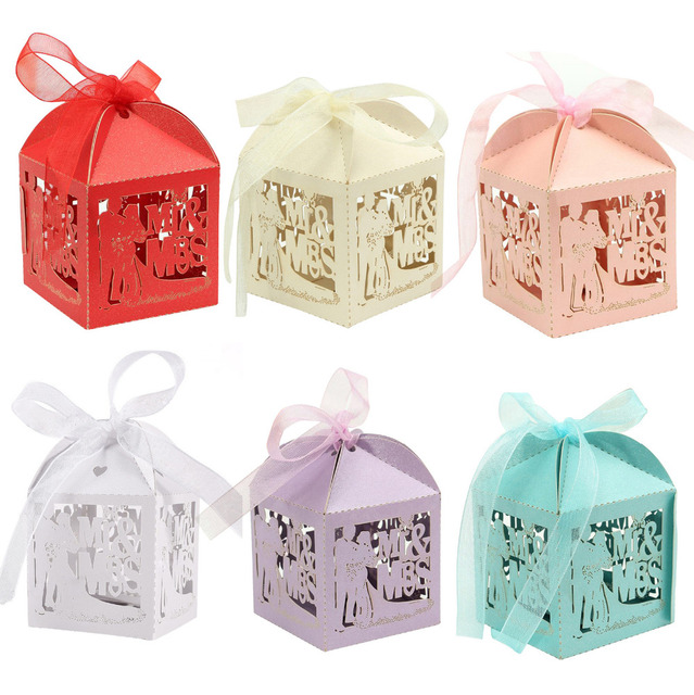 newest 50pcslot wedding paper comfit candy gift chocolate boxes with ribbon 6 colors party