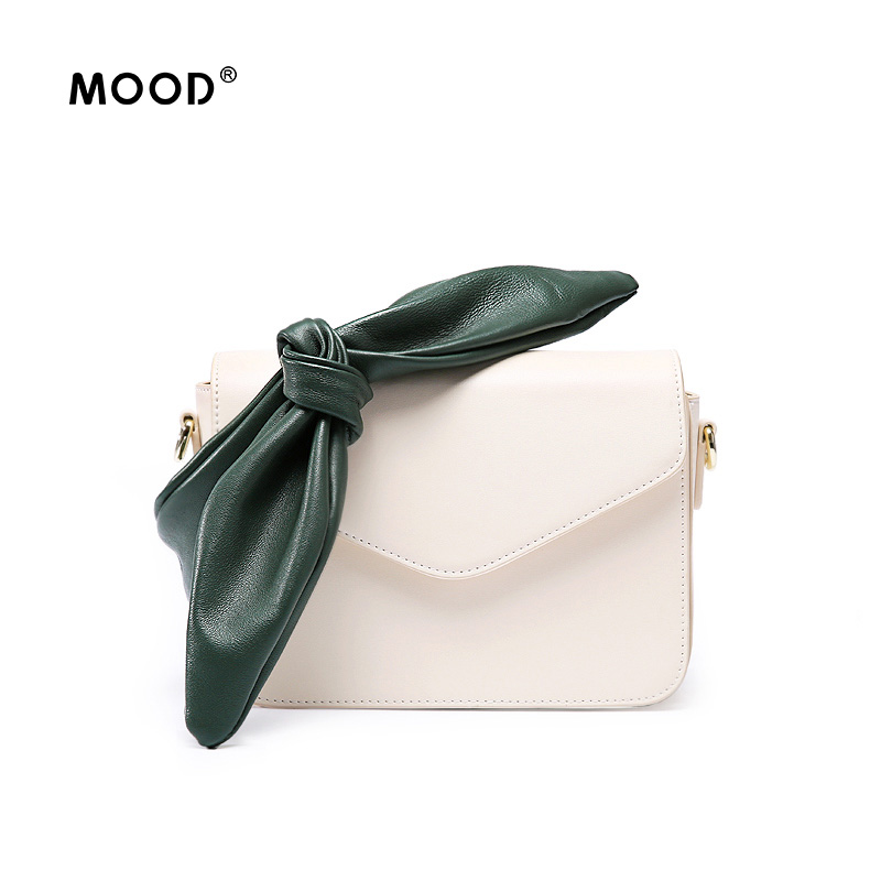 MOOD Messenger bag bow cowhide Flap 2018 new Contrast color shoulder fairy diagonal package Quality assurance free shipping contrast bow flat sliders