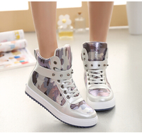 Silver Fashion Leopard Casual Shoes Womens Trainers Sport Breathable Camouflage Shoes Woman Casual Rivets Single