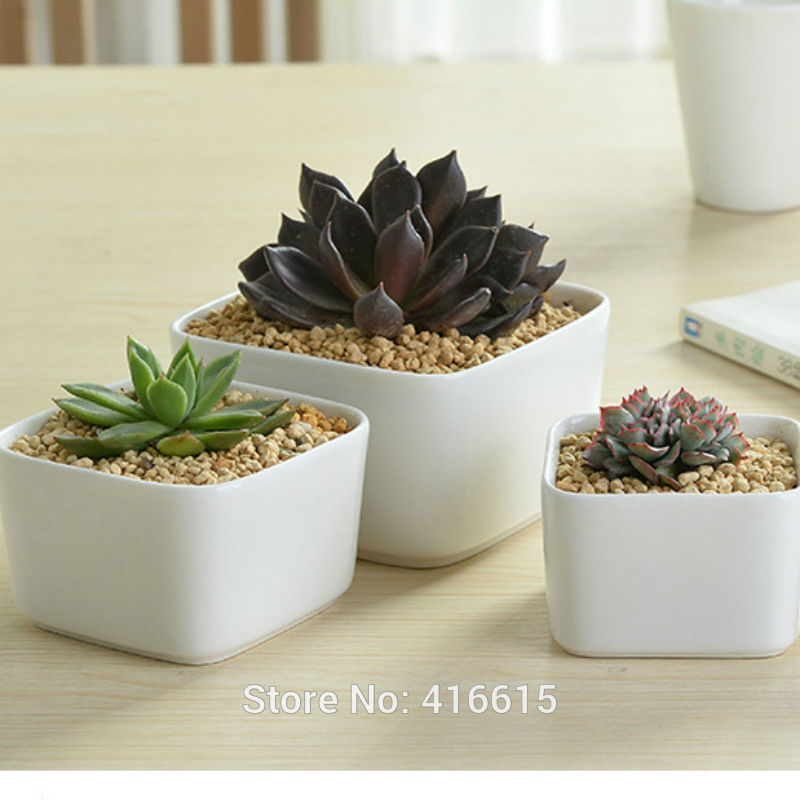 New Style Simple White Square Large Ceramic Flower Pots