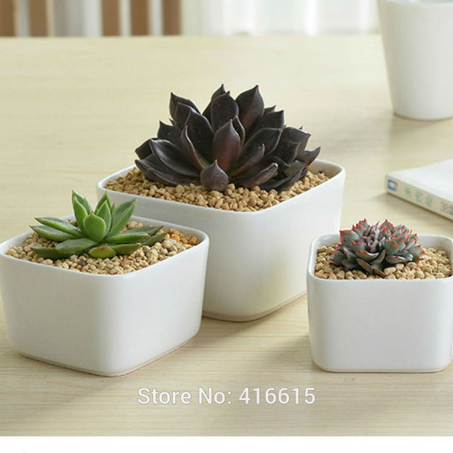 New Style Simple White Square Large Ceramic Flower Pots Desktop Modern Decoration Succulent Planter Stoneware Pottery