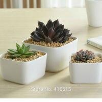New Style Simple White Square Large Ceramic Flower Pots Desktop Modern Decoration Succulent Planter Stoneware Pottery