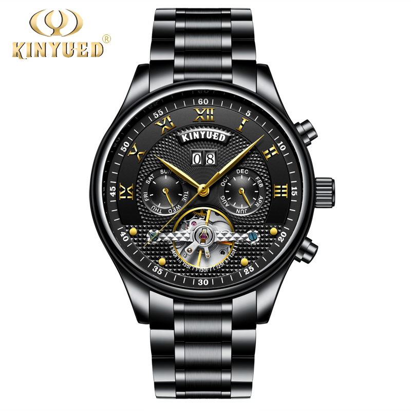 цены KINYUED Mens Watch Mechanical Automatic Perpetual Calendar Watches Men Black Skeleton Tourbillon Self Winding Reloje Hombre 2018