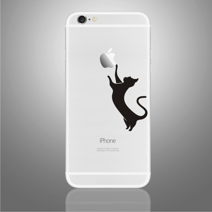 The cat vinyl art decal mobile phone stickers for iphone 6 plus case cover backside protector skin for apple iphone6 plus in mobile phone stickers from