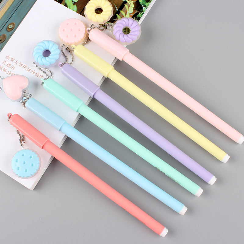 5 Pcs Macaron Cake Gel Pen Cute Cookie Donuts 0.5mm Blue Color Pens Gift Stationery Office School Supplies Material Escolar F441