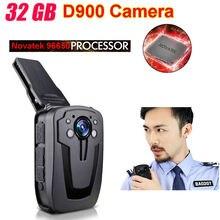 Freies Verschiffen! D900 Novatek 96650 32 GB Volle HD 1080 P Polizei Körper revers Getragen Videokamera Dvr IR Nacht Cam 6-stunden-akku rekord