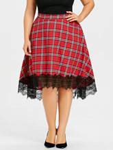 Lace Skirt Women Checked Fashion Patchwork High Waist S-3XL Size Ladies Pleated Umbrella Skirt 5XL