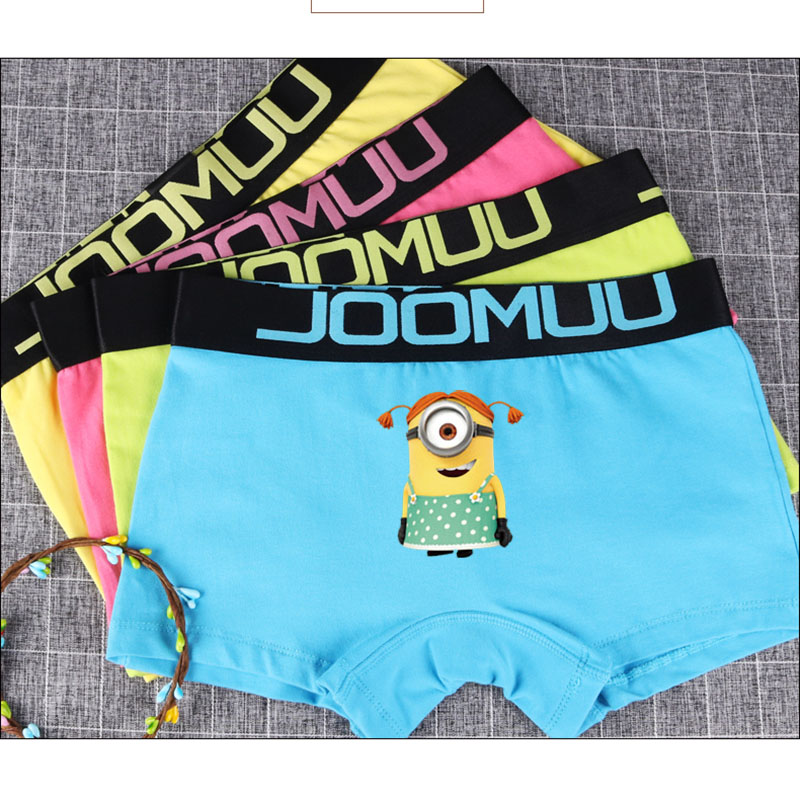 Minions printed ladies girls Panties Kawaii Safety Short Underwear Female boxer Breathable bright waist belt Pants students