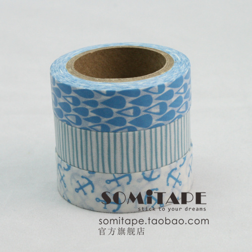 Somitape set small fresh blue paper tape decoration handmade diy washi tape MIX