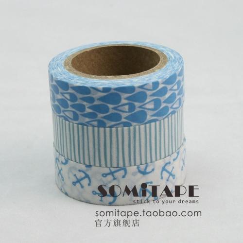 Somitape set small fresh blue paper tape decoration handmade diy washi tape MIX Free shipping