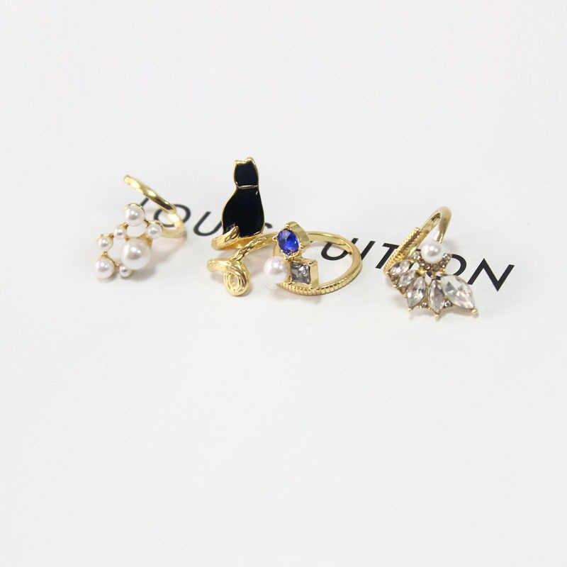 Crystal Black Cat Simulated-Pearl Zircon Nail Rings Set Resizable Ring 4pcs/set  8CRD108