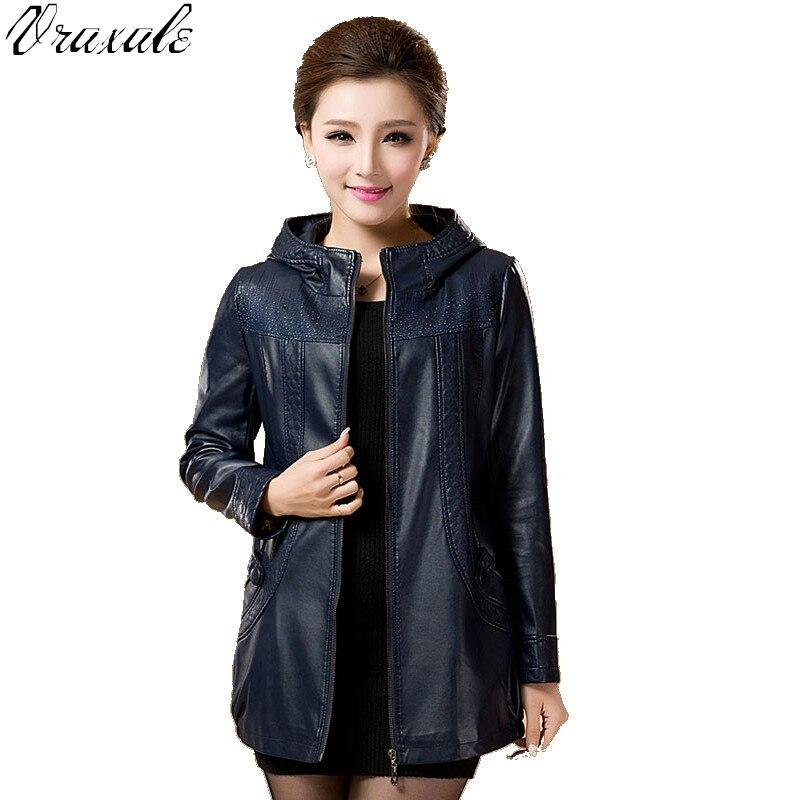 The new Spring 2017 fashion large size women hooded leather jacket pu medium-long windbreaker jacket big yards M-5XL