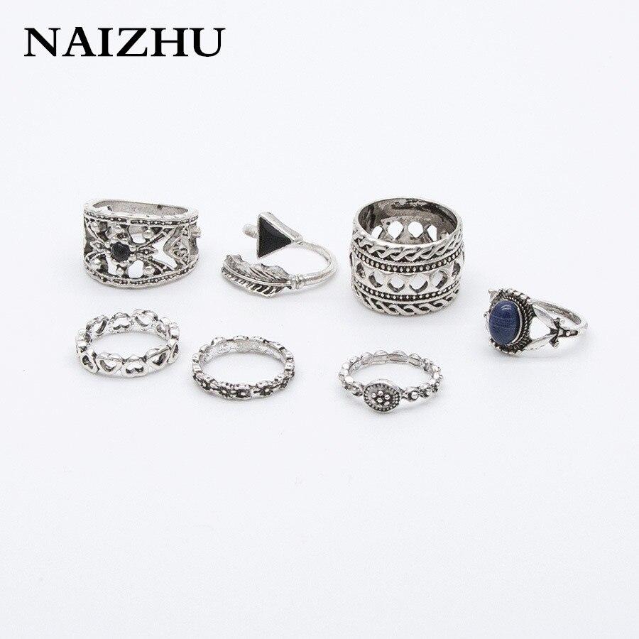 NAIZHU 6pcs / sets Fashion Vintage Punk Midi Rings Set Antique Sliver Color Boho Style Ring For Women 2017