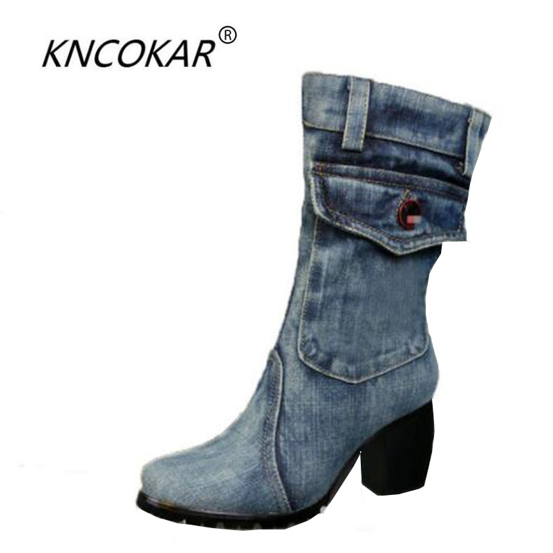 Hot sale high quality winter of 2017 the new canvas shoes high-heeled boots denim thick with women's boots the quality of accreditation standards for distance learning