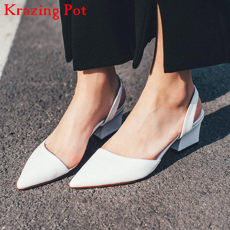 2018 Genuine Leather Women Pumps Slip on Office Lady Thick Heel Solid Pointed Toe Princess Style Slingback Fashion Nude Shoe L29 new genuine leather superstar solid thick heel zipper gladiator women pumps pointed toe office lady nude runway casual shoes l88