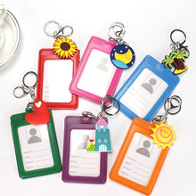 Red Heart Hold 2 ID Badge Case Clear and Candy Color Sun House Design Bank Credit Card Holders ID Badge Holders K002