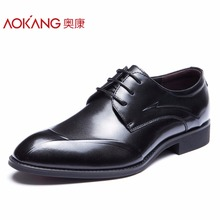 Aokang Men Dress Shoes Genuine Leather 2017 Fashion Men's Oxford Shoes Leather Derby Shoe Lace-up Free shipping