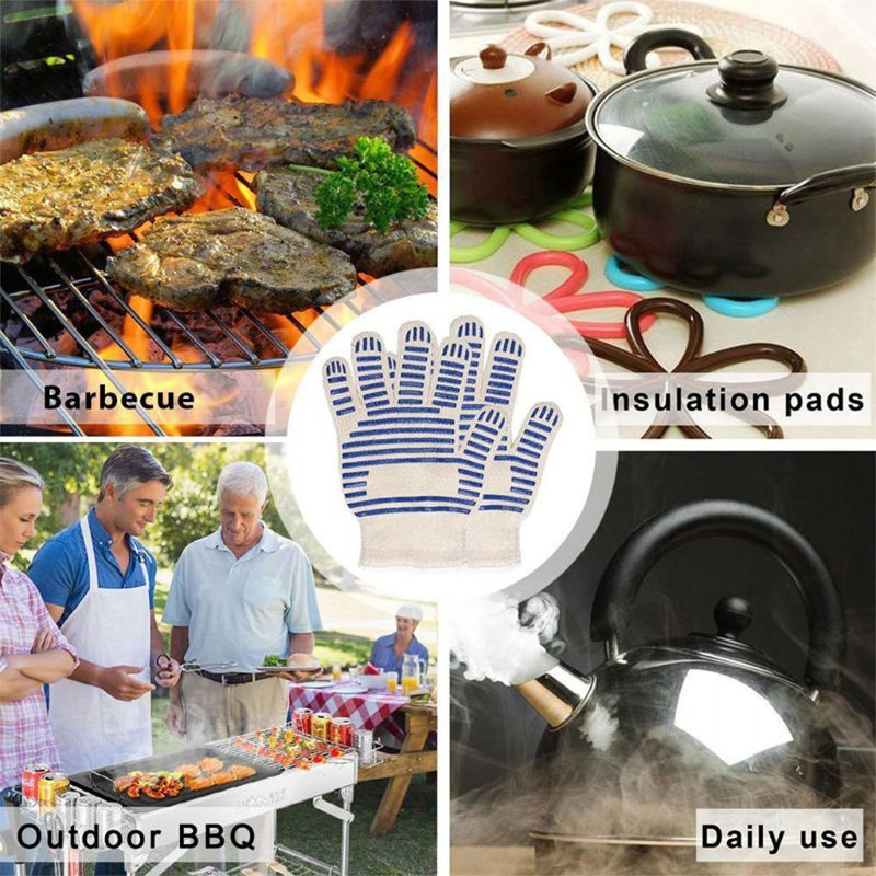 Heat Proof Resistant Cooking Kitchen Oven Mitt Glove Hot Surface barbecue oven glove Cooking BBQ Grill Glove Oven glove in Oven Mitts Oven Sleeves from Home Garden