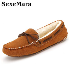 Winter plush women suede moccasins bow fur lined driving loafers boat shoes woman comfortable slip on