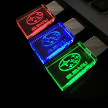 New Creative glass LED light for SUBARU Car Logo 4GB 8GB 16GB 32GB 64gb USB Flash drive pen drive usb 2.0 Memory Drive Stick