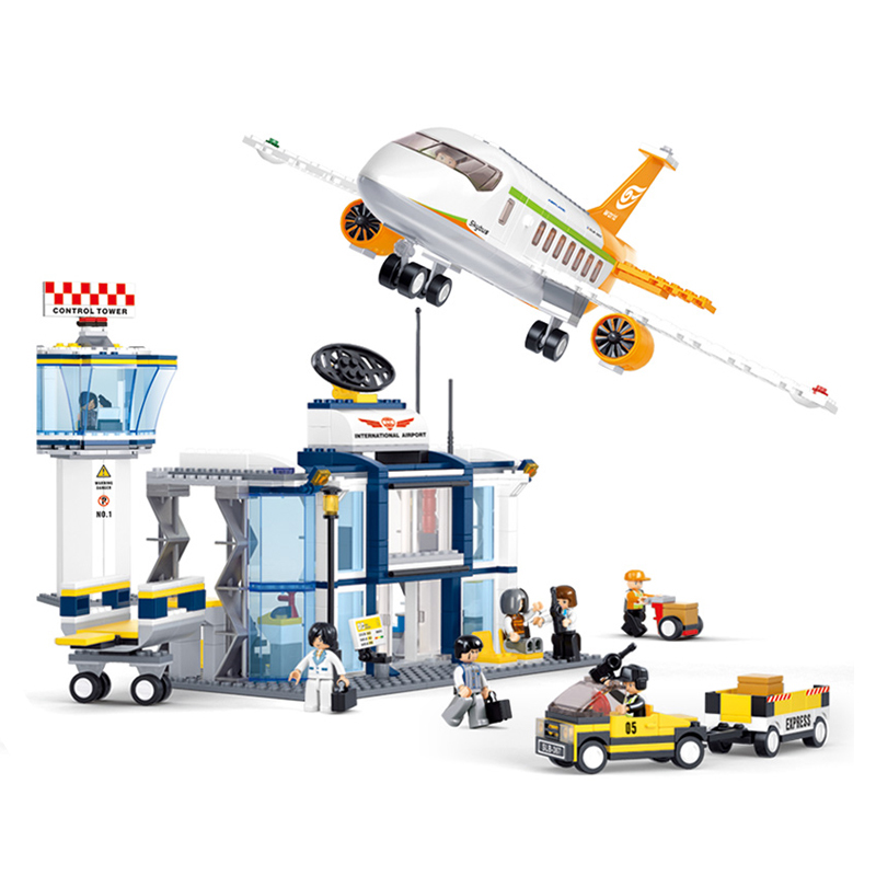 SLUBAN 0367 City Series International Airport Figure Blocks Compatible Legoe Construction Building Bricks Toys For Children gudi city international airport