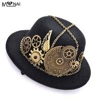 Cappello Vintage Steampunk Gear & Orologio Catena Ala Mini Cappelli Superiori Costumi Lolita Cosplay Dress Accessori per Capelli Goth
