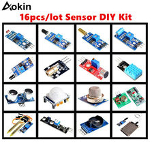 16pcs/lot Sensor Module Board Set Kit For Arduino starter Diy Kit Raspberry Pi 3/2 Model B 16 Rain Temperature tracing Sensor(China)