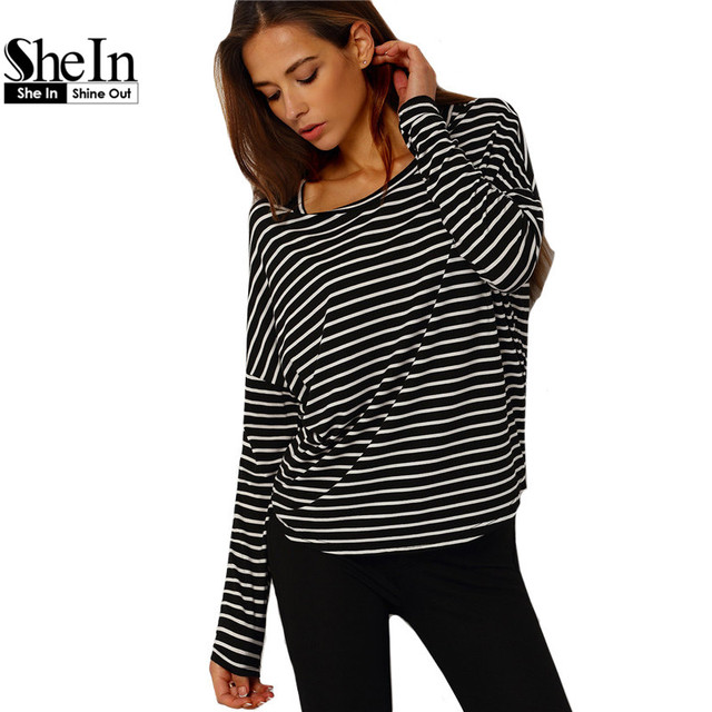 SheIn 2016 Spring Style Shirt Ladies 2016 Black and White Striped Long Sleeve Crew Neck Basic Loose Curved Hem T-Shirt