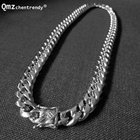 Qmzchentrendy 14mm Stainless Steel Polishing Silver Gold Curb Cuban Chain Necklaces Boys Mens Hip hop Dragon Clasp jewelry